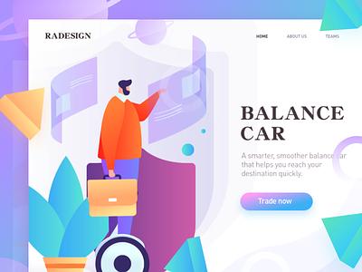 homepage of balance car vector illustration, multicolor design homepage web splashpage illustrations ui graphic illustration colors