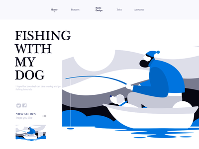 Fishing with my dog poster graphic illustration illustrations splashpage web vector colors