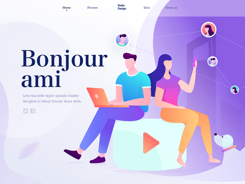 homepage of Bonjour ami graphic homepage ux splashpage web illustrations vector illustration colors