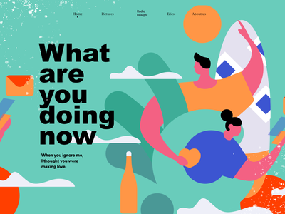 illustration  homepage of what are you doing now homepage web design poster graphic vector illustration colors
