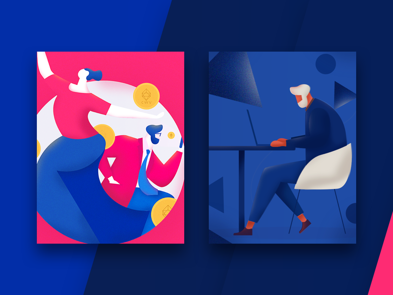 Some new illustrations, I hope you like it. illustrations splashpage homepage branding graphic poster vector illustration colors