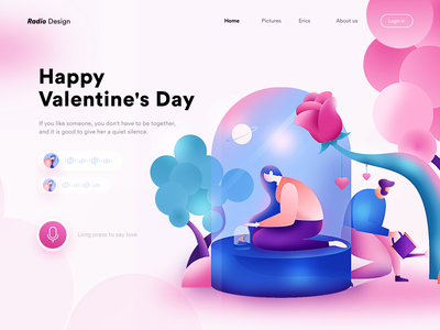 Happy Valentine's Day poster homepage web illustrations graphic vector illustration colors