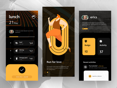 Fitness AppUI ux ui vector graphic illustration colors