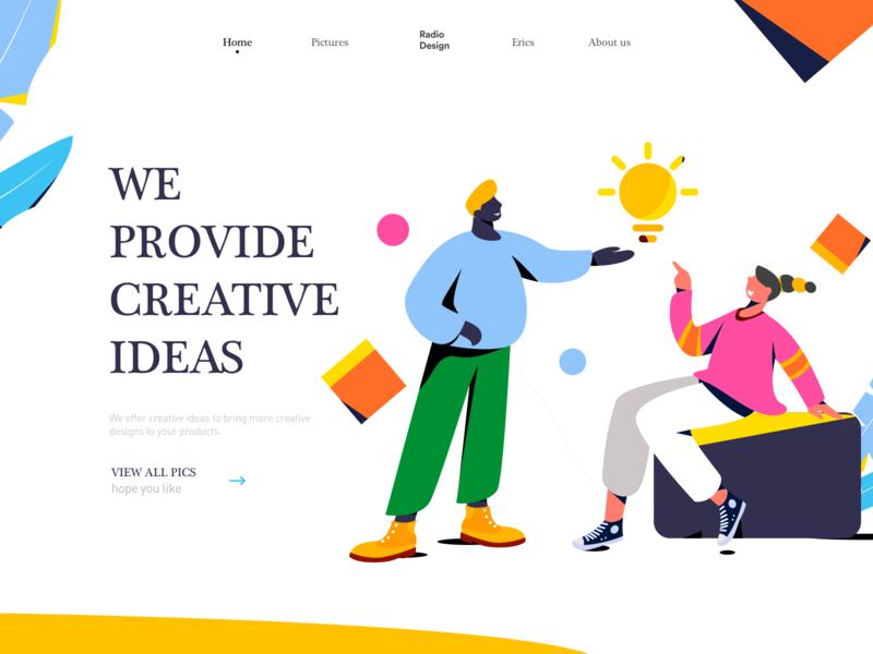 We provide creative ideas ui man app homepage illustrations web colors poster illustration vector