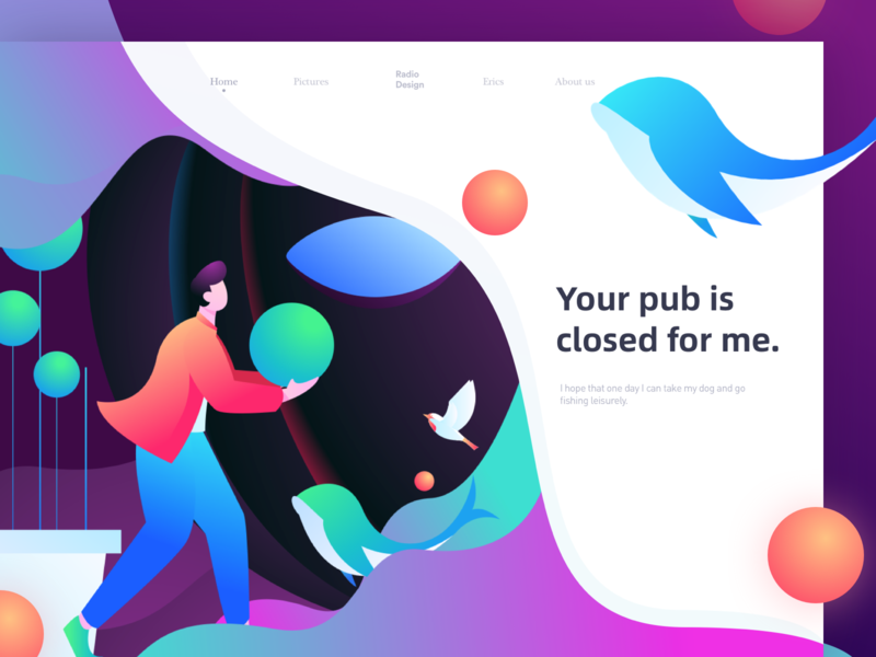 Your pub is closed for me. homepage ux app web illustrations poster vector graphic illustration colors