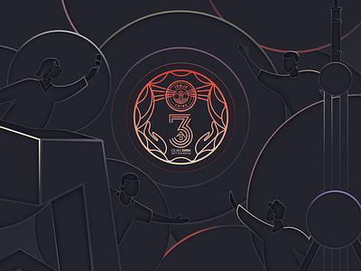 Union of 2%3 branding splashpage web ui illustrations poster vector graphic illustration colors