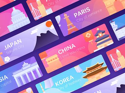 Various tourist cities attractions city travel branding graphic illustration colors tourist