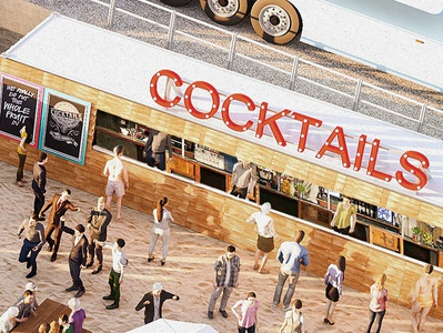 Cocktail Beach Bar beach bar design bournemouth visual 3d visualization visualisation illustration cgi