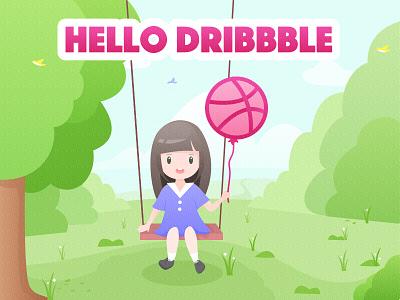 Hello Dribbble 开心 玩耍 女孩 秋千 树 海报 设计 插图 平面 dribbble