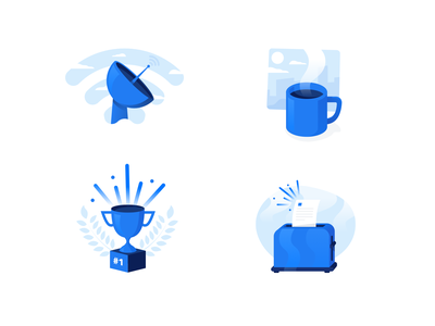 Illustrations set hosting cloud news incoming number 1 first waiting coffe wifi connect ui illustration design