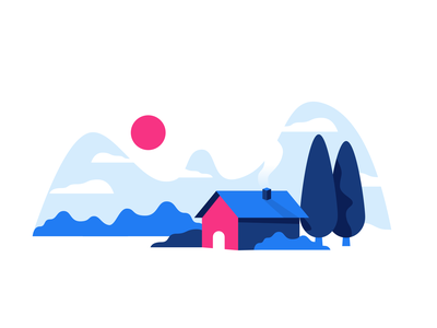 House cloud cabin house mountains sun forest anywhere illustration ui design