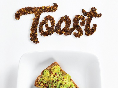 Toast Food Typography red pepper toast photography hand lettering food typography food