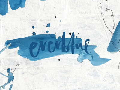 Everblue logo branding hand lettering watercolor