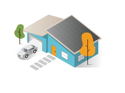 Isometric Ranch House mid mod solar panels illustrator illustration isometric