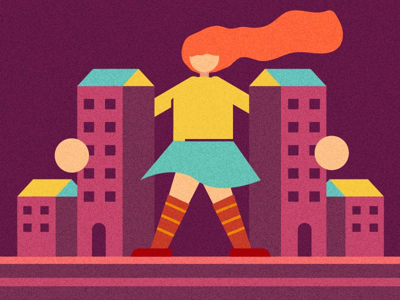 Women Big City big city design line violet 2019 character flat vector illustration women