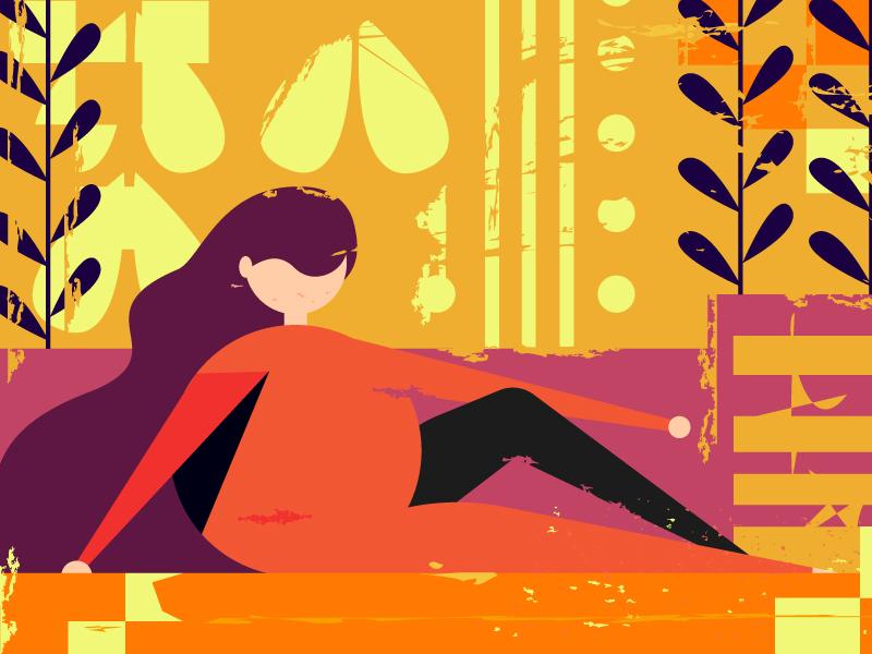 Orange Lady origami lady womens organic orange women design vector 2019 flat character illustration