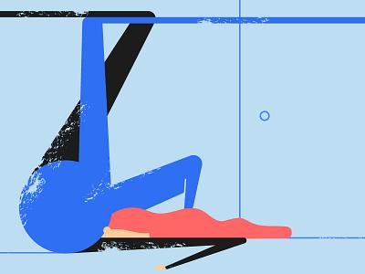 Back door woman abstract vector women flat red blue door 2019 cubism design character illustration