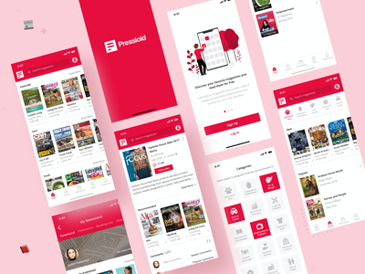 Pressloid App vector concept youtube category icons magazine logo typography branding icon interface ios clean ux design ui