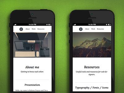 Iphone website view web design responsive css design portfolio personal hero typography navigation html5 mobile