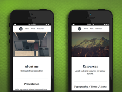 Iphone website view web design responsive css design portfolio personal hero typography navigation html5 mobile