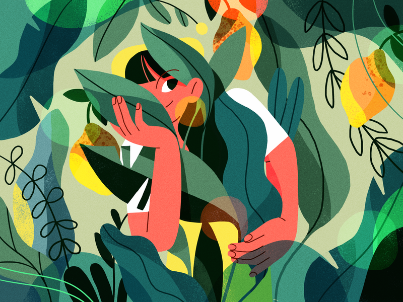 Foliage 🌿 nature girl product flat design character illustration