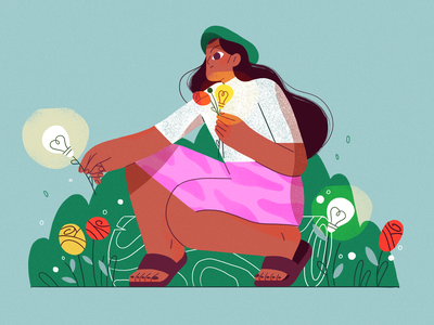 Gathering Ideas ux ui vector nature girl product flat design character illustration