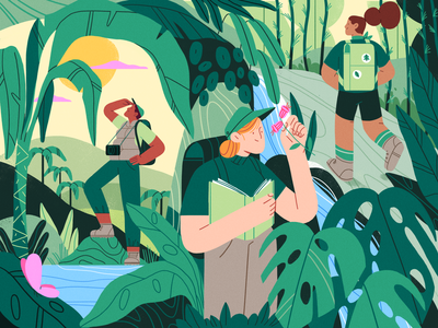 Nature Explorers science monstera palms jungle vector summer team nature girl product flat design character illustration