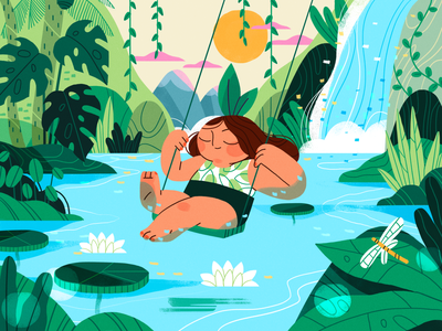 Daydreaming forest jungle summer nature girl product flat design character illustration