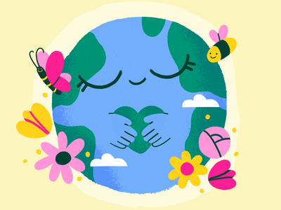 Happy Earth Day 🌍💚 earth nature flat design character illustration