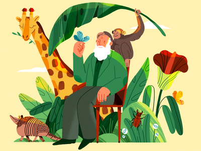 Charles Darwin darwin charles darwin animals nature flat design character illustration