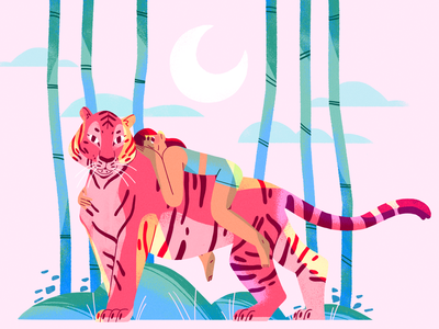 Tiger Queen 🐯 tiger summer nature girl flat design character illustration