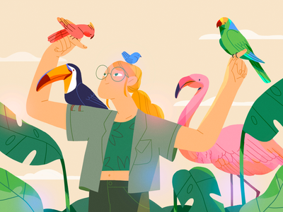 Birb Keeper nature girl product flat design character illustration