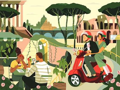ROMA rome summer nature girl product flat design character illustration