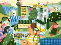 Lisboa 🇵🇹 lisbon summer nature product flat design character illustration