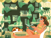 Bosco Vetricale through a balcony view forest summer nature girl flat design character illustration