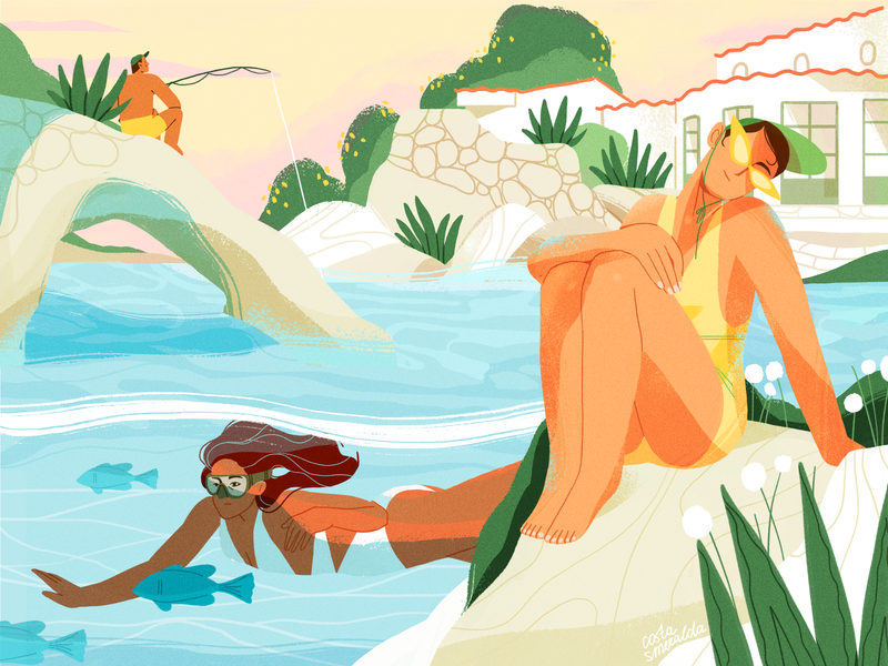 Costa Smeralda summer nature girl product flat design character illustration