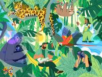 Endangered Amazon amazon forest vector girl nature product flat design character illustration
