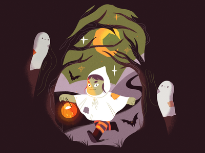 Spooktober 🎃💀 halloween forest nature girl product flat design illustration