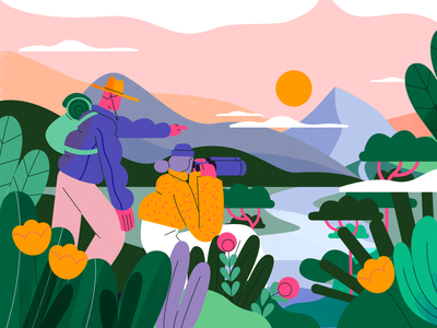 TED-Ed x Lobster Studio - The Great Outdoors vector summer team nature product flat design character illustration