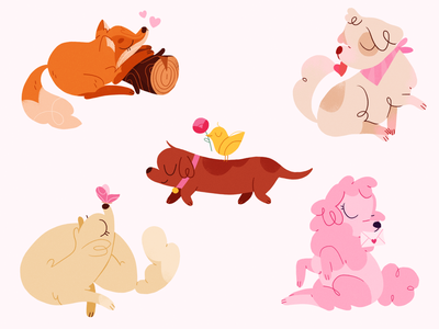 Happy V day 🐶🦊 product flat design character illustration