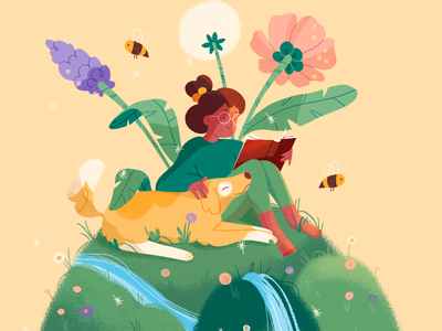 Spring is around the corner 🌸 forest summer nature girl product flat design character illustration