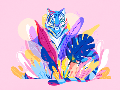 Blend in tiger nature product flat design character illustration