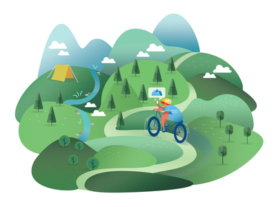 Mountain in the Summer  product nature biking camping moutain character flat illustration