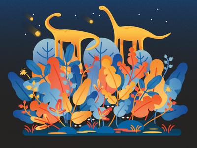 Apatosaurus at Night