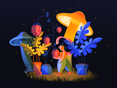 Midnight Garden  mushroom strawberries plants garden grain character flat illustration