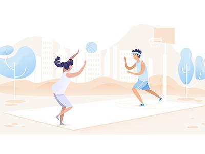 Sharing Illustration for Evree finance play evree court basketball flat summer character illustration
