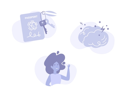Icons for Evree real people brain finance goals travel illustration flat icons