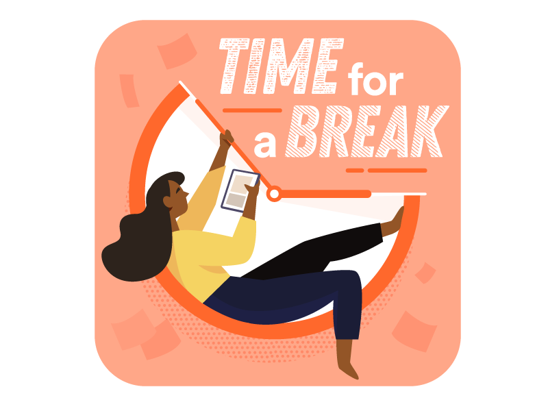 Time for a Break 🕒 play flow work office busy rest for break time illustration icons character