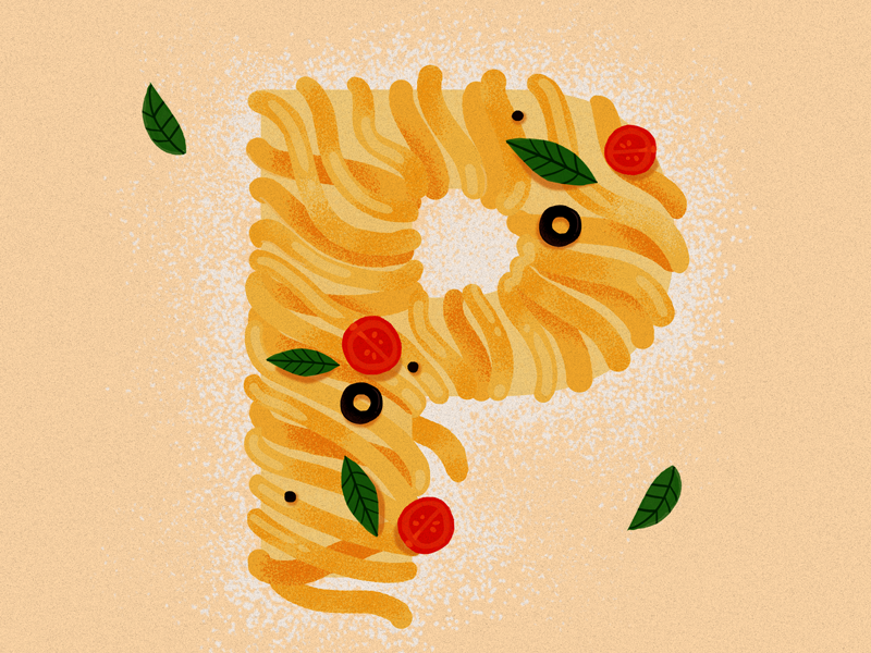 P for Pasta type 36 p 36daysoftype pasta design illustration studioart fourplus