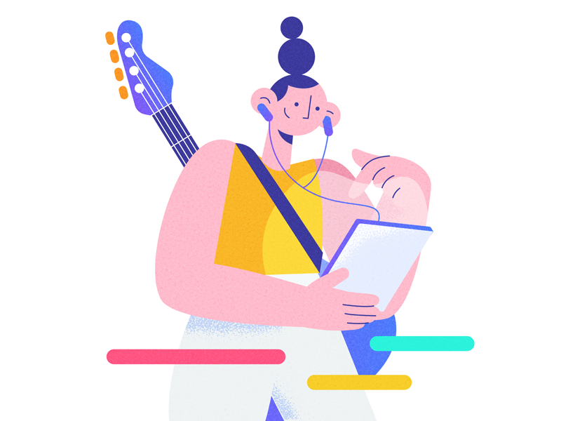 🎵express yourself 🎵 screen notes design hairstyle tablet guitar music character